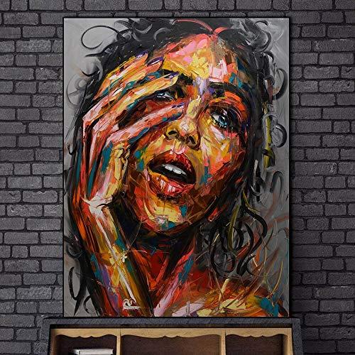 wZUN Pintura al óleo Abstracta de Cara de Mujer en Impresiones de Lienzo, Carteles de Arte e Impresiones para murales de Sala de Estar, imágenes de Arte de Pared de Mujer 60x90 Sin Marco