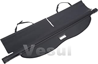 Vesul Black Tonneau Cover Retractable Rear Trunk Cargo Luggage Security Shade Compatible with Two Captain Chairs Toyota Highlander 2014 2015 2016 2017 2018 2019(with Open Handle)