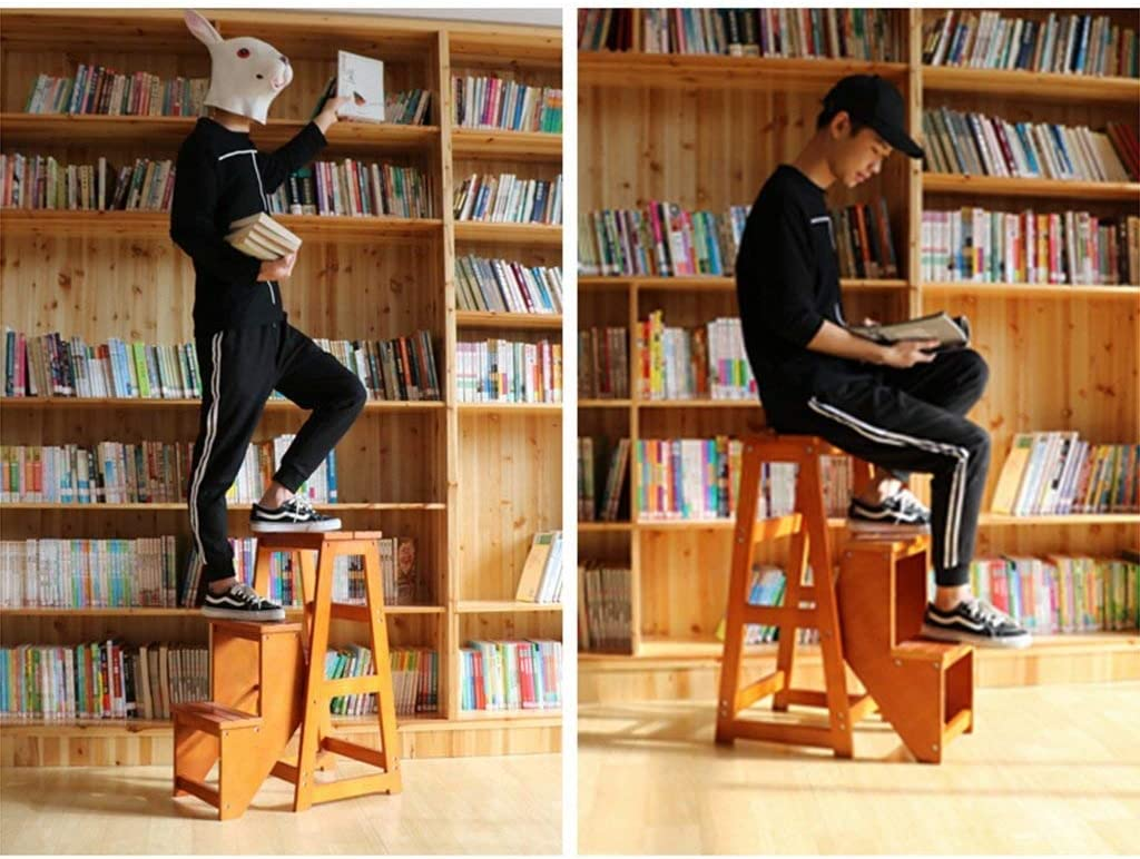 AISHANG Chaise pliante en bois massif avec tabouret à 3 couches à usage domestique Multicouche Esc Tabouret double usage (couleur bleu) Noyer Clair.