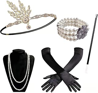 Miss Good 1920s - Juego de Accesorios para Disfraz de Gran Gatsby de los años 20 con Diadema, Largos, Guantes Negros, Collar y Soporte para Cigarrillos, Accesorios para Mujer