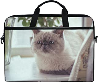 Animal Cat Exotic Shorthair Gray Animated Real Fluffy Pet Cute Laptop Shoulder Messenger Bag Case Sleeve For 14 Inch To 15.6 Inch With Adjustable Notebook Shoulder Strap