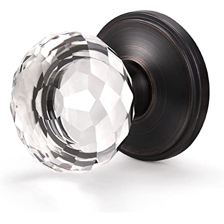 1 Pack Glass Door Knob Diamond Shape Crystal Door Knobs Interior, Passage Function for Hall and Closet,Oil Rubbed Bronze Rose with Clear Door Handle