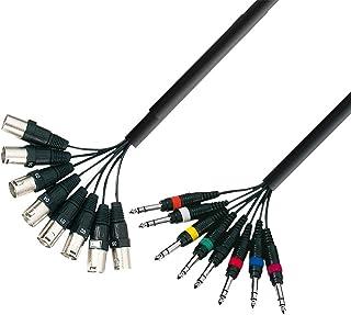 Adam Hall 3 Star Series - Cable para instrumentos musicales (8conectoresXLR macho a 8conectores macho de6,3 mm, longit...
