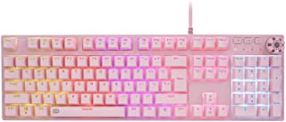 FD IK619 Mechanical Keyboard 108 Key Colorful LED Rainbow Backlit for Typing and Gaming (Brown Switch Pink)