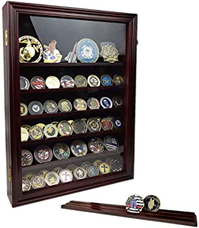Indeep Challenge Coin Display Case Military Coin Display Holder Cabinet Rack Shadow Box 7 Row