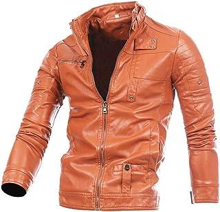 64bc3148bd45 GREFER New Men Leather Jacket Autumn Winter Biker Motorcycle Zipper Outwear Warm  Coat