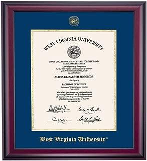 OCM West Virginia WVU Mountaineers Diploma Frame Navy Gold Matting Embossed Seal