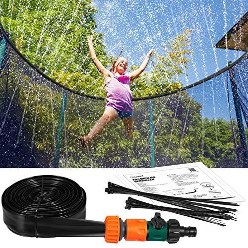 CLISPEED Trampolin Sprinkler für Kinder, Outdoor Sprühwasser Sprinkler Schlauch Trampolin Zubehör Fun Summer Park Hinterhof Garten Wasserspiele für Jungen Mädchen 39FT