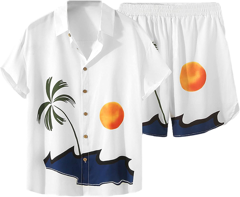 Men Sets Printed Short Sleeve Lapel Shirt Beach Shorts Streetwear Vacation Casual Hawaiian Suits 2 Pieces