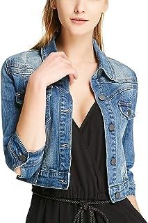 سترة جينز كاجوال للنساء من SUSIELADY سترة جينز نصف كم معطف سائقي الشاحنات ملابس خارجية للفتيات أزياء نحيفة