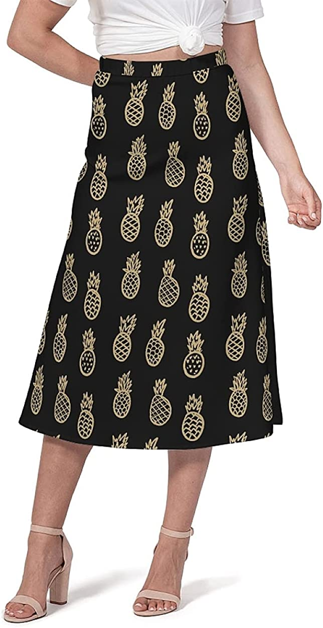 Women's A-Line Middle Skirt Length Pineapple Graphic Casual Elasticity High Waist Chiffon Pull Open Closed