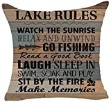 Queen's designer Retro Wood Grain Background Lake Rules Watch The Sunrise Relax Go Fishing Make Memories Cotton Linen Square Decorative Home Indoor Throw Pillow Case Cushion Cover 18'X18'