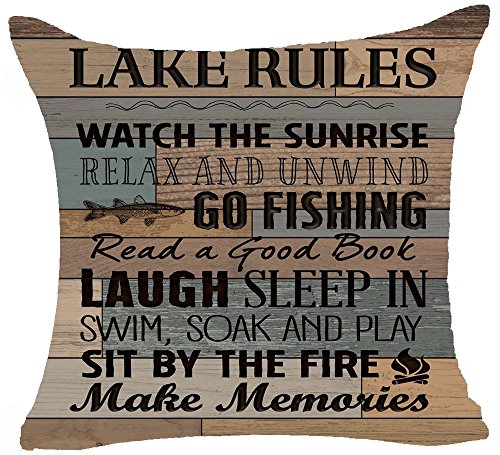 Queens designer Retro Wood Grain Background Lake Rules Watch The Sunrise Relax Go Fishing Make Memories Cotton Linen Square Decorative Home Indoor Throw Pillow Case Cushion Cover 18X18