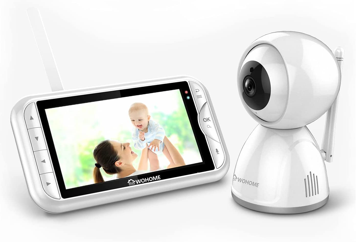 Wohome Video Baby Monitor with Camera and Audio, 5-inch 720p Display, HD Night Vision, Room Temperature,2X Digital Zoom,2-Way Talk,900ft Range