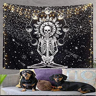 AicLuze Skull Tapestry Wall Hanging Tapestry, Meditation Skeleton Tapestry, Chakra Tapestry Black and White Starry Tapestries for Bedroom
