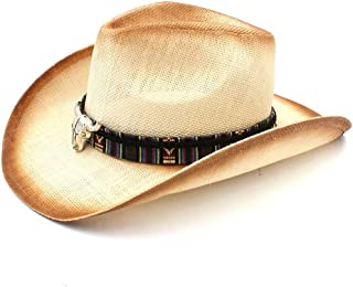 Yumi New Women Men Straw Cowboy Hat with Bohemian Bull Head Band for Lady Dad Western Sombrero Hombre (Color : Natural, Size : 58cm)