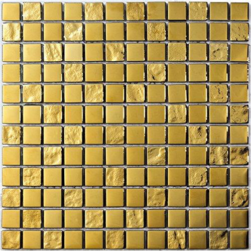 Decostyle DEC-47082ABC113 Mosaico Decorativo, Oro, 8 mm, 30 x 30 cm