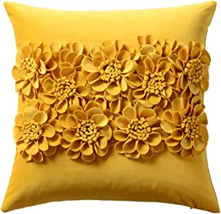 JWH Handmade 3D Flowers Accent Pillow Case Decorative Cushion Cover Soft Velvet Pillowcase Home Bed Living Room Tavel Pillow Sham Girl Gift 18 x 18 Inch Yellow