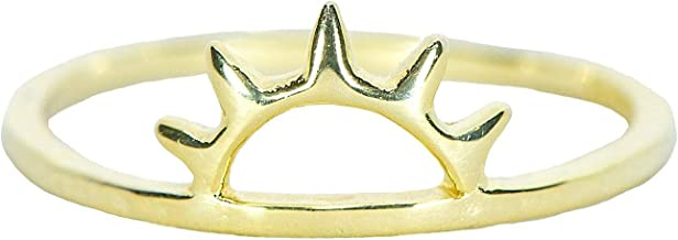 Pura Vida Sunset Gold Plated Ring - Half Sun Design, 18k Gold Plating, Brass Base - Sizes 5-9