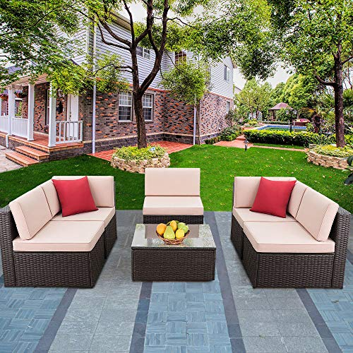 Devoko Patio Furniture Sets 6 Pieces Outdoor Sectional Rattan Sofa All-Weather Manual Weaving Wicker Patio Conversation Set with Glass Table and Cushion (Brown)