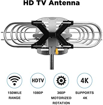 Outdoor Amplified Digital HDTV Antenna - 150 Mile Motorized 360 Degree Rotation- Amplified HD TV Antenna for 2 TVs Su...