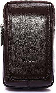 Men's Leather Small Waist Bag, Multi-Function Large-Capacity Mobile Phone Bag Mini Belt Hanging Purse for 4.7-6 Inch Mobile Phone