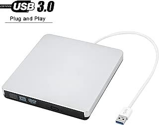PowerLead USB 3.0外付け DVD ドライブ DVD プレイヤー ポータブルドライブ WindowsXP/2000/Vista/7/8.1/10、Linux、Mac OS 8.6 Macbook Air/Pro iMac/iMac Pro Windows 両対応 ポータブル高速 静音 超薄型 超スリム CD/DVD読取/書込