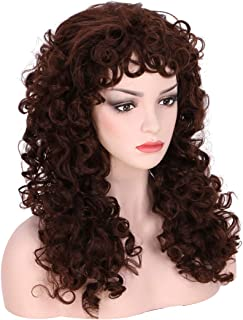 Honcloud 70s 80s Long Afro Curly Wigs for Women (Brown)