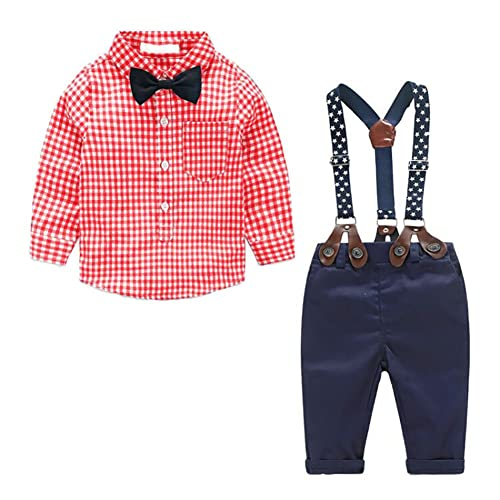 d62e6241e1d9 MissChild Baby Boy Plaid Shirt + Suspender Pants with Bow Tie£¬Toddler  Jumpsuit Outfits