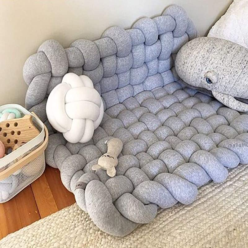 Wonder Space Knot Plush Baby Sleeping Mat Soft Cotton Square Nursery Rug Fashion Nursery Room Decor For Infant Toddler And Children Grey