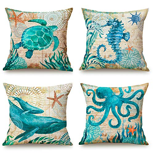 Niceclub Cushion Cover Sea Animals Theme Cotton Linen Throw Pillow Covers for Sofa Couch Car, Square Pillowcase Set of 4 (18x18 Inch)