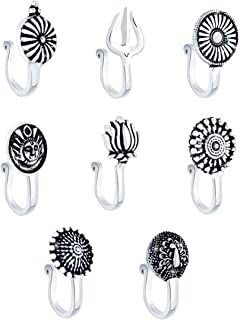 Yellow Chimes Beautiful Classic Designs Non- Piercing 8 Pcs Combo by Yellow Chimes Nose Ring for Women (Oxidized Silver) (...