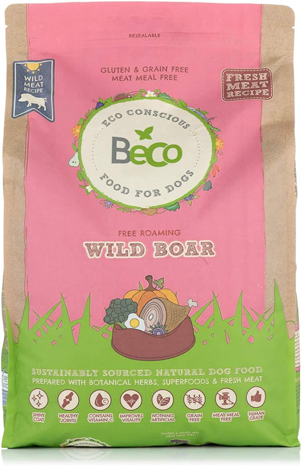 Beco Dog Food  Wild Boar with Broccoli and Pumpkin  6kg  Natural Grain Free Ethical Dog Food with No Artificial Preservatives