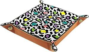 Leopard Skin Valet Tray Storage Organizer Box Coin Tray Key Tray Nightstand Desk Microfiber Leather Pouch,16x16cm