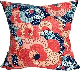 ノーブランド品 Japanese Exotic Design Cushion Cover. Square Type. Japanese Art Item for Room Decoration. (Pink Ocean)