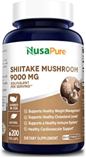 Shiitake Mushroom Extract 9000mg 200 Veggie Capsules (Non-GMO & Gluten-Free) Support for Healthy Weight and Cholesterol Le...