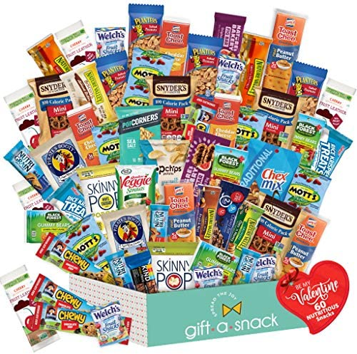 Valentines Day Candy Gift Basket for Kids Healthy Snack Box Variety Pack 60 Count College Student product image