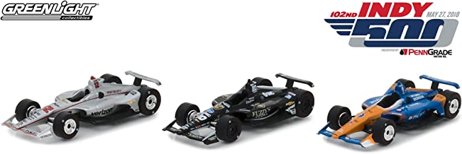 Greenlight 10828 1: 64 2018 Indianapolis 500 Podium 3-Car Set - #12 Will Power/Penske, 20 Ed Carpenter/Racing, 9 Scott Dixon/Ganassi, Multi