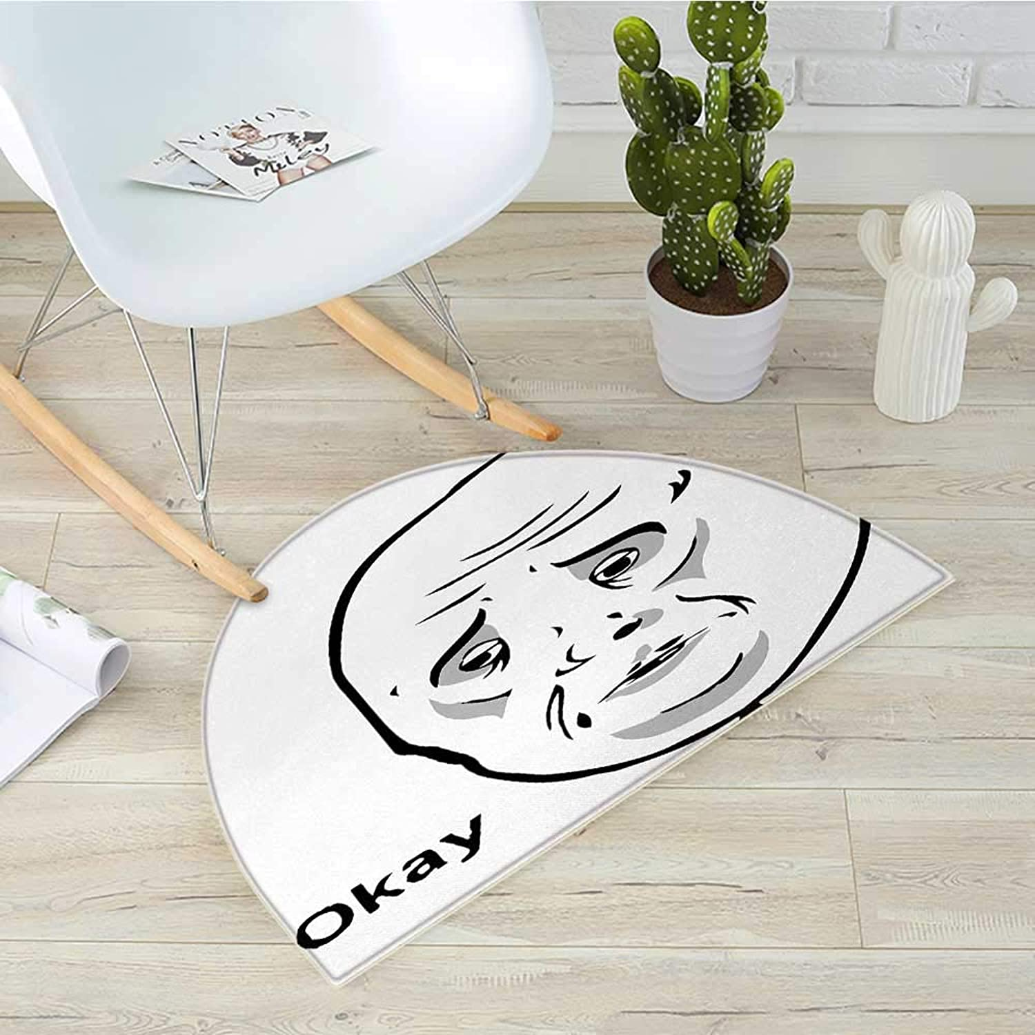 Humor Semicircular CushionOkay Guy Famous Fun Expression with Long Face Hipster Style Online Chat Print Entry Door Mat H 43.3  xD 64.9  Black and White
