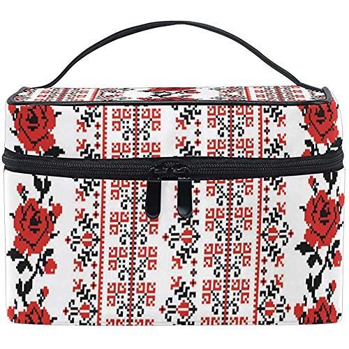 Grand Voyage Maquillage Train Case Ukrainienne Rose Transportant Portable Zip Cosmétique Brosse Sac Maquillage Sac Organisateur