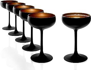 Stölzle Lausitz Sektschalen Schwarz matt Bronze 6er Set I Cocktailschalen aus hochwertigem Kristallglas 200ml I Champagnergläser-Set spülmaschinenfest I Coupe Gläser I hohe Bruchresistenz