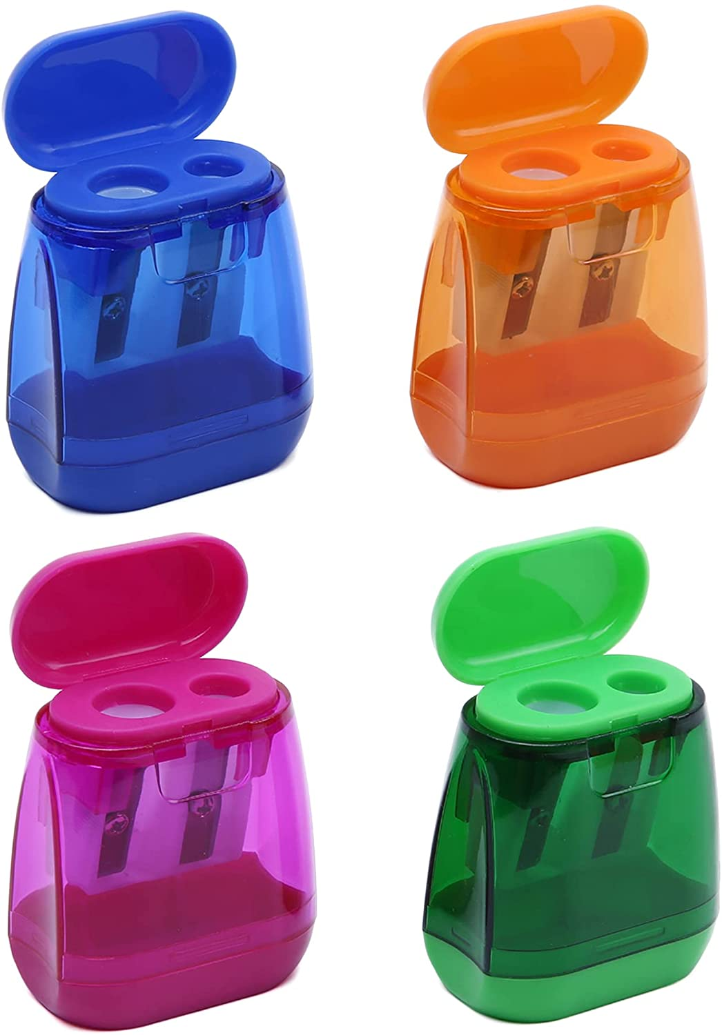 4PCS Manual Max 84% OFF Don't miss the campaign Pencil Sharpener Double Colored Prism Holes S