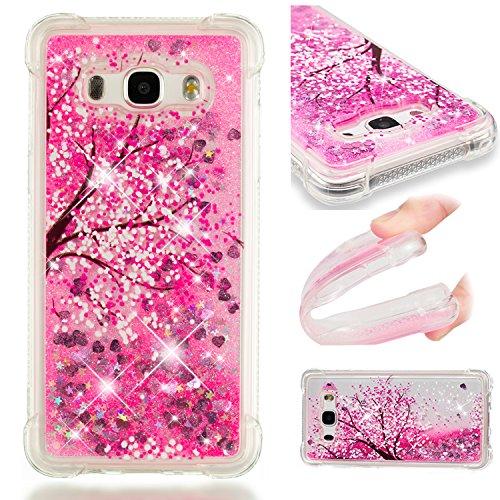 HopMore Compatible con Funda Samsung Galaxy J5 2016 Silicona 3D Glitter Liquido Brillante Purpurina Transparente Carcasa Resistente Case Cover Antigolpes para Mujer Niña - Flores de Cerezo