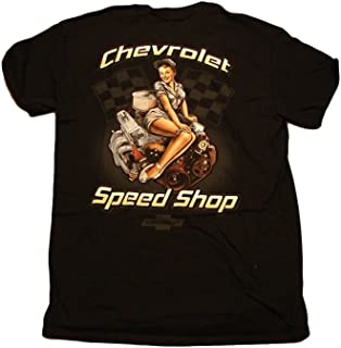 Chevrolet Speed Shop with Pinup on a Chevy Motor Men's T Shirt