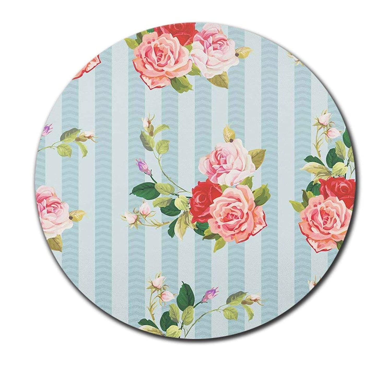 Pink Rose Flowers Light Blue Turquoise Stripe Mouse Pad