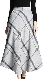 Women's Winter Warm Elastic Waist Wool Plaid A-Line Pleated Long Skirt