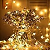 SFOUR フェアリーライト電飾led イルミネーションライト6M_40LED電池式 クリスマス 飾りツリー led電球庭 ライト屋外防水イルミ室内USB枕元 ライト ledに適してベッドルーム|アウトドア|結婚式|庭対応|誕生日 (星型 ウォームホワイト)