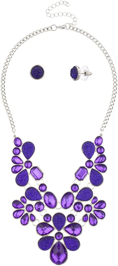 LUX ACCESSORIES Floral Flower Clear Stone Statement Necklace Matching Earrings
