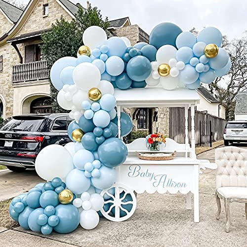 Kit de guirnaldas con globos, APERIL Arco de Globo Cumpleaños Globos Azules y Blancos para Baby Shower Bautismo Niño Decoración de Boda Cumpleaños Fiesta Bautismo