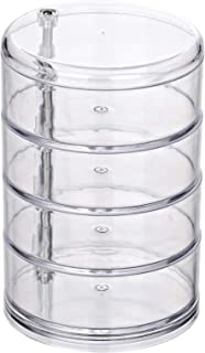 WENKO Organiseur Salle de Bain, boite ronde rangement acrylique, 4 compartiments, Ø11,5 cm